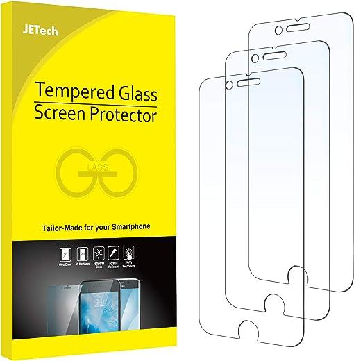 JETech Film de Protection d'Écran Compatible avec iPhone SE 2020, iPhone 8, iPhone 7, iPhone 6s, iPhone 6 en Verre Trempé, Lot de 3