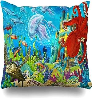 Ahawoso Throw Pillow Cover Underwater Castle Princess Children Graphic Fantasy Tale Andersen Aquatic Design Decorative Pillowcase Square 16