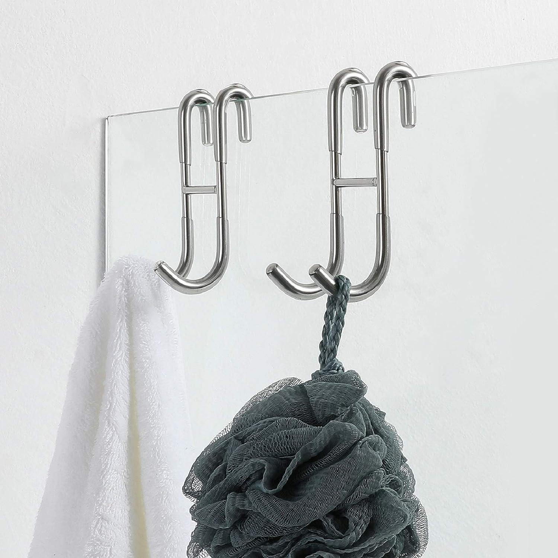 Simtive Shower Translated Door Hooks Max 72% OFF 2-Pack Bathroom Fra Towel for