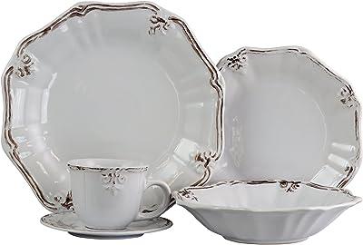 Elama Scalloped Round Stoneware Elegant Dinnerware Dish Set, 20 Piece, White