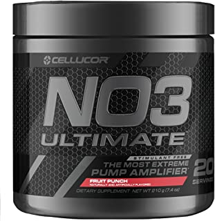 Cellucor NO3 Ultimate Nitric Oxide Supplement, Premier Nitric Oxide Booster & Pump Amplifier For Muscle Growth, Fruit Punc...