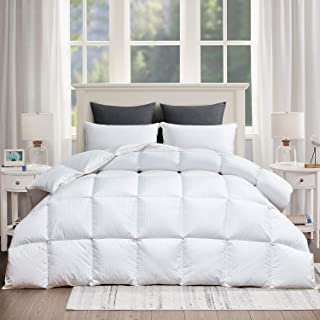 ROYALAY Luxurious All Season Goose Down Comforter Queen Size Duvet Insert White Striped Hypo-allergenic 1200TC 750+ Fill Power 54oz Fill Weight 100% Cotton Shell Down Proof with 8Tabs(Stripe,Queen)