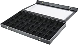 Super Z Outlet Black Plastic Earring Jewelry Display Case 32 Slots Clear Top for Home Organization