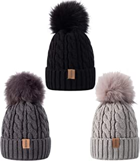 REDESS Baby Kids Winter Warm Fleece Lined Pompom Hats, Infant Toddler Children Beanie Cable Knit Slouchy Cap Girls Boys