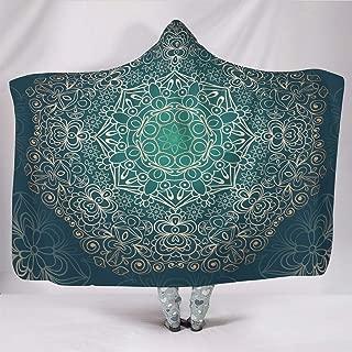 B2QDF-9 Bat Blanket Mandala Flower Design Print Fleece Office Blanket Hoody - Dark Slate Gray Original for Adult Use White 150x101cm