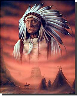 Native American Wall Decor Indian Chief with Tepee Art Print Poster (16x20)