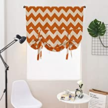 WUBODTI Orange Tie Up Curtain Valance for Small Window,Room Darkening Blackout Thermal Insulated Balloon Drapes Valance for Kitchen Bedroom Living Room,Geometric Stripe Pattern,32x55 Inch