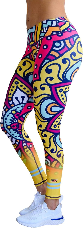 Brandfit Printed Leggings, Workout Yoga Gym Run Fit Women, Compression, Anti Cellulite, Tummy Control
