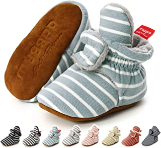 Baby Boys Girls Cozy Fleece Booties Strip Socks Boots Stay On Slippers Shoe Newborn Infant Toddler Non Slip Grippers House Shoe