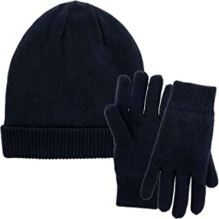DG Hill Mens Winter Hat and Gloves Set with 3M Thinsulate Fleece Lining, Beanie Hats for Men with Winter Gloves