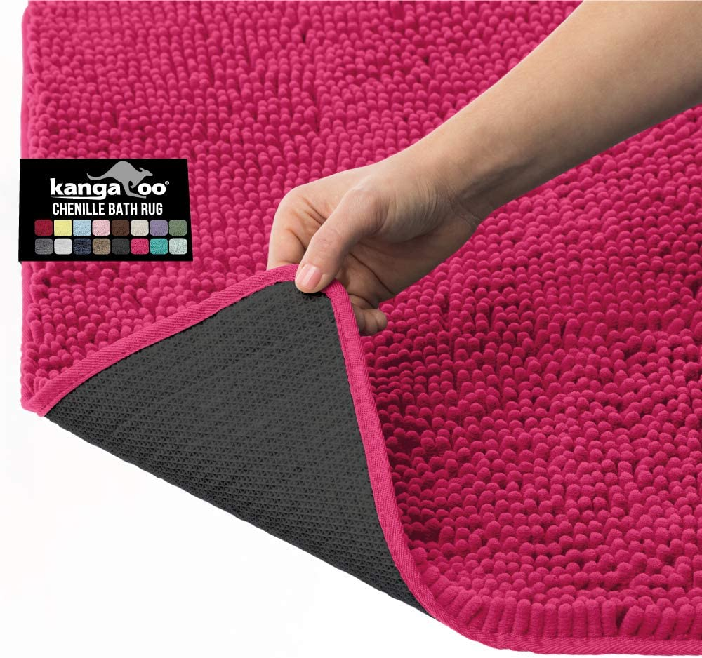 Shower Washable Extra Soft and Absorbent Shaggy Bathroom Mat Rugs Plush Carpet Mats for Childrens Tub Kangaroo Plush Luxury Chenille Bath Rug Strong Underside 36x24 Beige Bathtub and Bath Room