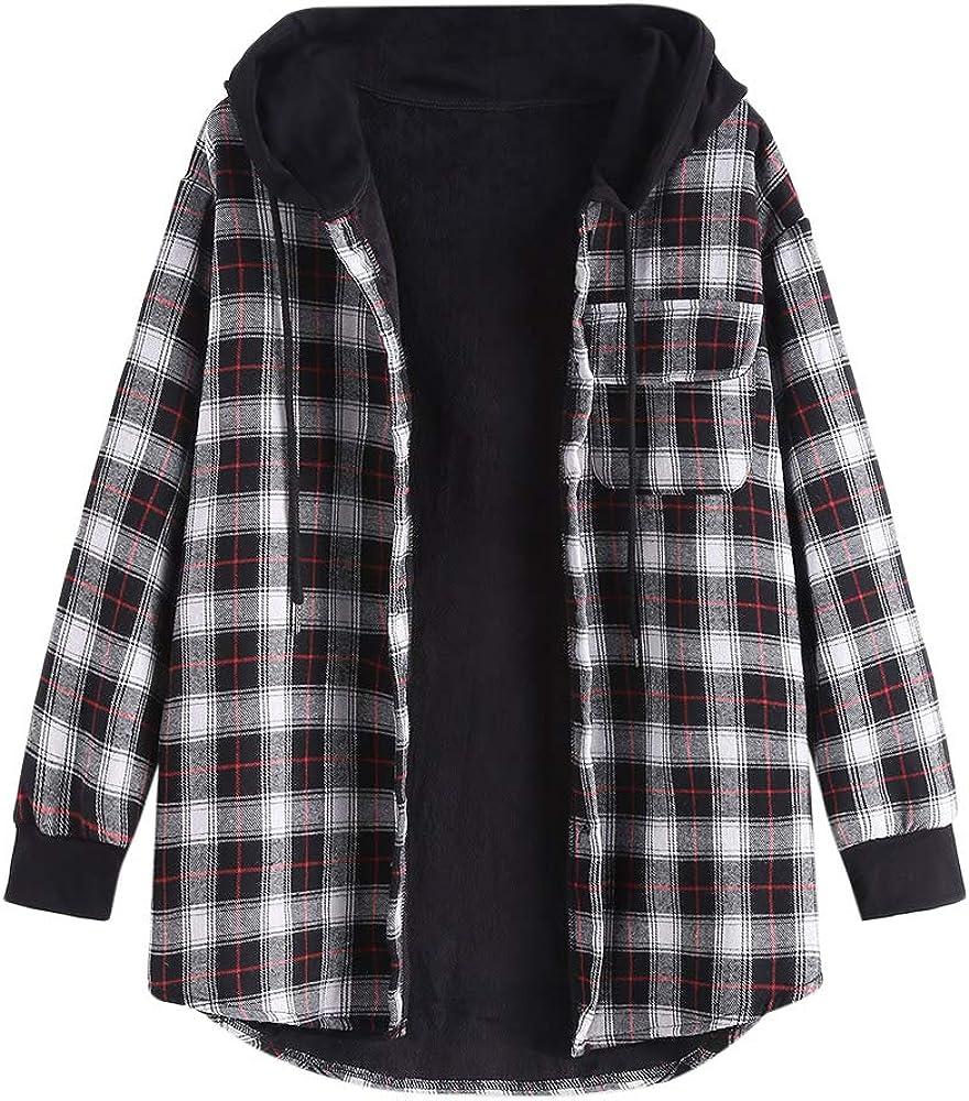 ZAFUL Women's Plaid Hooded Shirt Jacket Furry Lined Button Pocket Long Sleeve Coat
