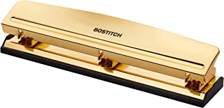 Bostitch Office 3 Hole Punch, 12 Sheet Capacity, Metal, Gold Chrome