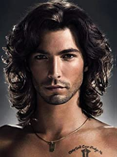 ELIM Men Wigs Short Curly Male Hair Wig Brown Natural Looking Wig for Party or Daily Use (Dark Brown)Z164