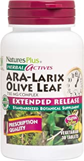 NaturesPlus Herbal Actives ARA Larix Olive Leaf - 750 mg, 30 Vegan Tablets - Immune Support Supplement, Extended Release -...