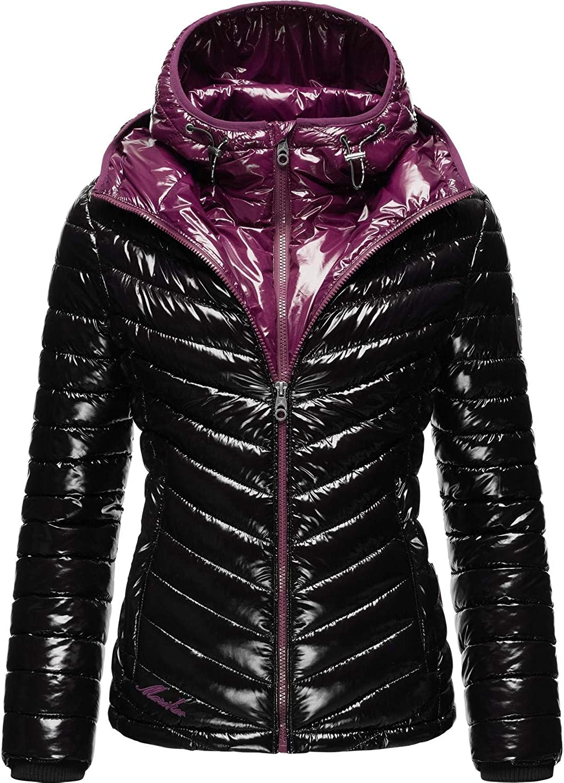 Marikoo Damen Winterjacke Steppjacke im Metallic Look mit doppelter Kapuze Lennjaa XS-XXL Black/Aubergine