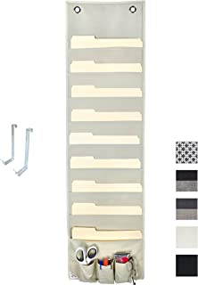 COMPONO Premium Hanging File Folder Organizer, 9 Large Pockets, 3 Small Pockets, 2 Hangers. Perfect for Home Organization, School Pocket Chart, or Office Bill Filing. Wall or Over Door Mount (Cream)