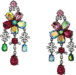 Mixed Stone Flower Chandelier Earrings