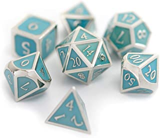 Suburban Sphinx Metal Dice - Perfect RPG Dice Set- 7-Die Set w/Tin and Exclusive Art Insert (Blue/Silver)