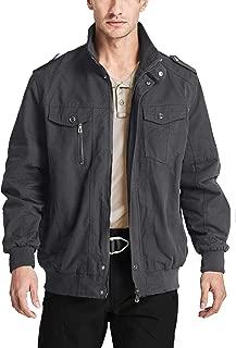 Men's Cotton Cargo Jackets Stand Collar Lightweight Tactical Jacket Windbreaker 4 Pockets