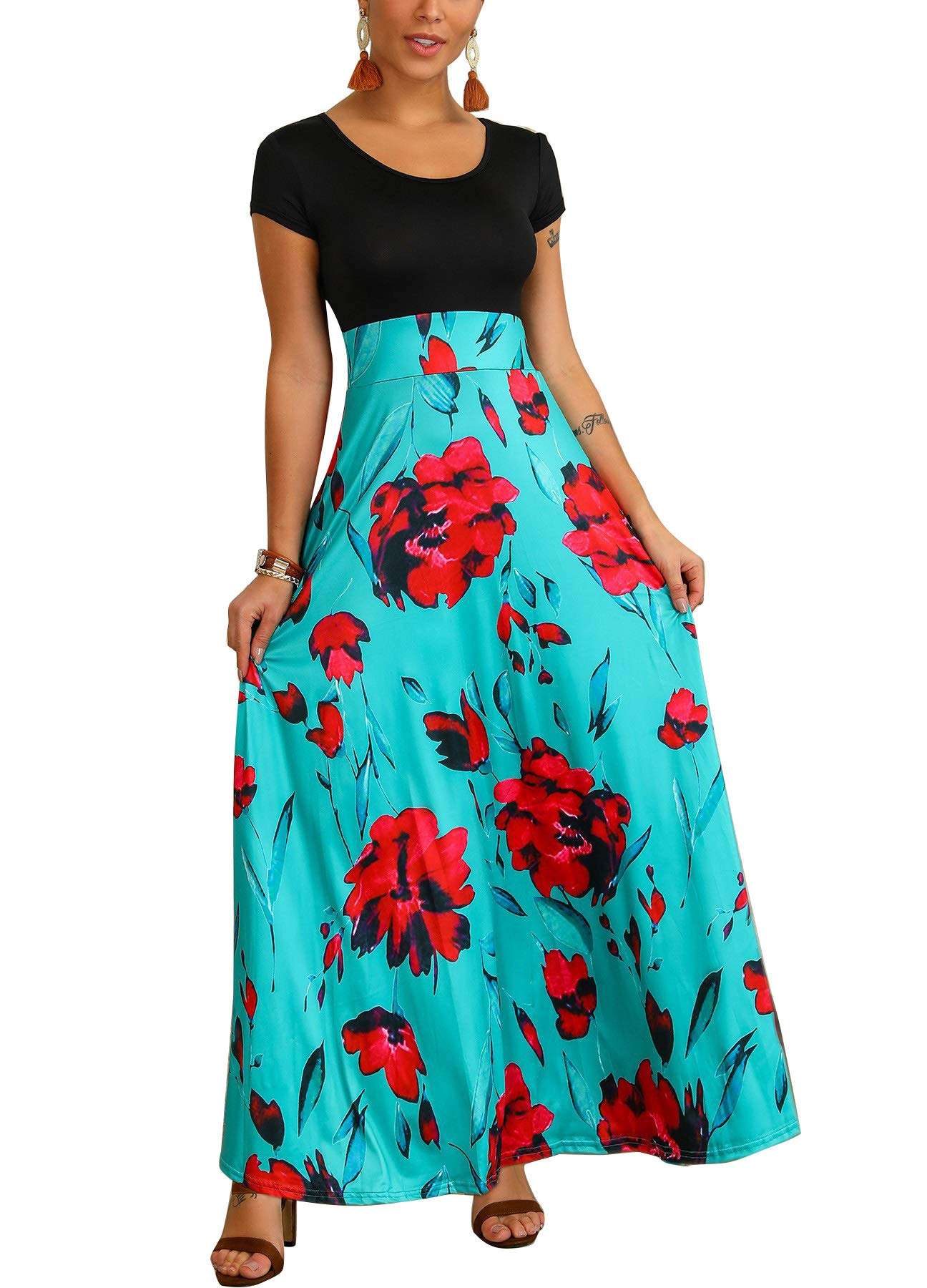 Available at Amazon: Women's Floral Maxi Dress with Pockets Modest Long Swing Dresses