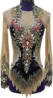 女の子と女性のための新体操レオタード、フィギュアスケートレオタード専門競技衣装長袖ドレスを注文するために作られた
