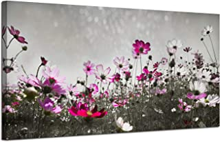 Canvas Wall Art Flower Colorful Painting Prints One Panel Large Size Landscape Picture, Grey Flash Sky Modern Nature Pink Wildflowers Artwork Framed for Living Room Bedroom Kitchen Home Office Décor