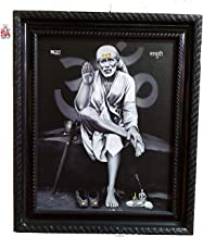 S A Gifts Sai Amrut Shirdi Sai Baba Wall Hanging Matte Finish Wooden Photo Frame for Home Decor (Black and White_8 x 10 Inch)