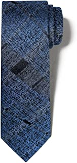 Men's 100% Silk Handmade Checkered Madras Skinny Tie 2.25