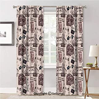 Window Curtains for Bedroom Privacy,London United Kingdom with City Signs Bus Soldier Bridge Black and Maroon,Soft Sheer Curtains for Kitchen,42x84inch Each,2 Panels