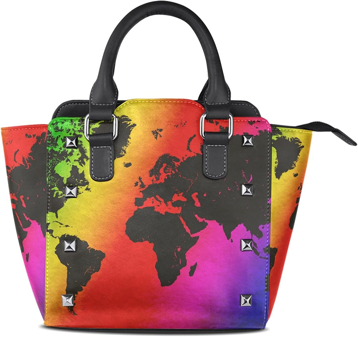 Sunlome Grunge World Map Vintage Print Handbags Women's PU Leather Top-Handle Shoulder Bags