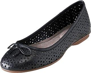 Hush Puppies Robin Perf Ballet Shoes, Black, 8 Medium