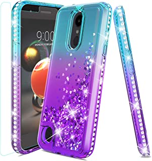 LG Aristo 2 Case,LG Tribute Dynasty Case,LG Aristo 3 Case,LG Rebel 4/LG Phoenix 4/LG Aristo 2 Plus/Rebel 3 Case w/Tempered Glass Screen Protector,Glitter Quicksand Diamond ShockproofCase,Teal/Purple
