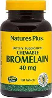 NaturesPlus Chewable Bromelain - 40 mg - Natural Proteolytic Enzyme Supplement, Sinus Support, Anti-Inflammatory - 180 Che...