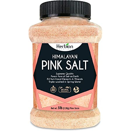 Herbion Naturals Himalayan Pink Salt Jar Fine Grain, GMO Free, Supreme Quality Chemical Free, Vegan, Kosher Certified, Fine Grain All-Natural Salt, Triple-Washed in Spring Water.
