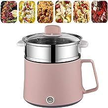 BBZZ Poêle à frire électrique portable avec cuiseur vapeur électrique, wok électrique, marmite chaude, mini marmite anti-a...