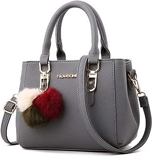 SGJFZD Women's Handbag PU Large-Capacity Shoulder Bag Messenger Bag Tote Bag PU Leather Fashionable Shopping Travel Laptop Bag for Ladies Wallet Storage Bag (Color : Gray)