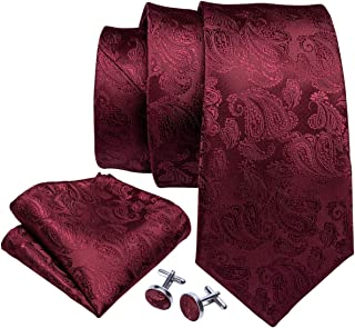 Men Tie Set Solid Silk Necktie Pocket Square Cufflinks Extra Long Tie