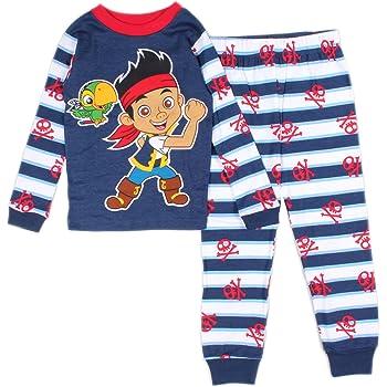 Disney Little Boys Red Blue Jake The Pirate Cartoon 3 Pc Pajama Set 2T-4T