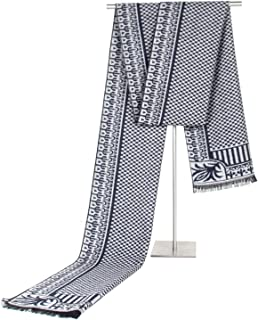 Scarf Imitation Cashmere Male Business Autumn Winter Classic Lattice Tassel Leisure Warm Weather Warm bib` TuanTuan (Color : Navy)