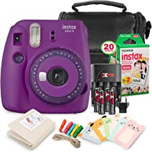 FUJIFILM INSTAX Mini 9 Instant Film Camera (Purple with Clear Accents) + Fujifilm Instax Film, Camera Case and Basic Accessory Bundle