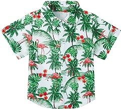 uideazone Boys Button Down Shirts 3D Graphic Hawaiian Aloha Short Sleeve Dress Shirt Tops 2-8 Years