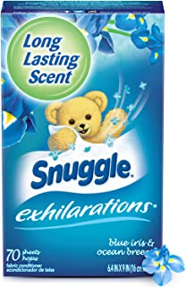 Snuggle Exhilarations Fabric Softener Dryer Sheets, Blue Iris & Ocean Breeze, 70 Count