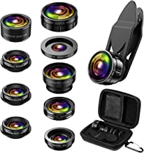Criacr Phone Camera Lens, 9 in 1 Cell Phone Lens Kit, Zoom Lens, 0.36X Wide Angle Lens + 0.63X Wide Lens + 15X Macro Lens + 20X Macro Lens + 198°Fisheye Lens + CPL + Starburst Lens Telephoto Lens
