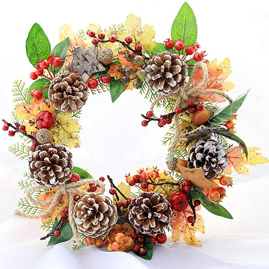 レザー草加害者Sund リース クリスマス おしゃれ 壁掛け 35CM ドア 窓 コーン 装飾 花輪 カボチャベリー クリスマス 感謝 祭装飾