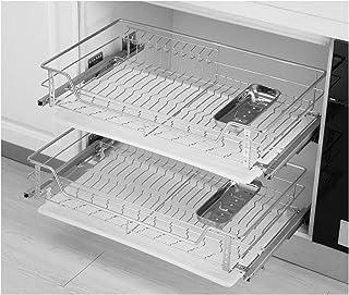 WWWFZS Panier de Rangement en Filet avec système de tiroirs coulissants, adapté pour Placard ou Armoire de Cuisine tiroir ...