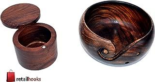 RETAILHOOKS Set of Yarn Bowl & Salt Box Vintage Wooden Decorative for Dinning Table Best for Christmas Gift
