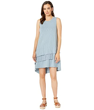 Dylan by True Grit Luxe Cotton 3 Tiers Tank Dress with Lace (Denim) Women