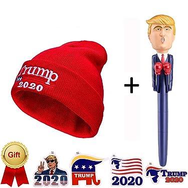 KOOYUTA Donald Trump Talking Pen - Funny Gag Gift Make America Great-Again You're Fired +Donald Trump Hat (+ 4 Stickers-Free) (Red B)