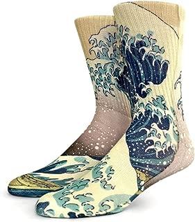 Funny Crazy Novelty Crew Socks for Men (L Shoe Size 9 – 12.5, Japanese Wave)